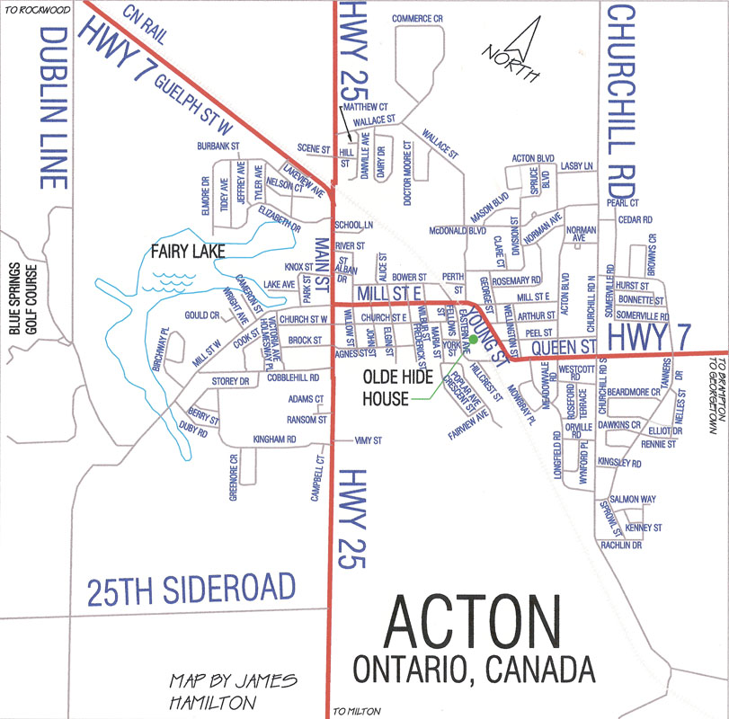 street map of Acton, Ontario