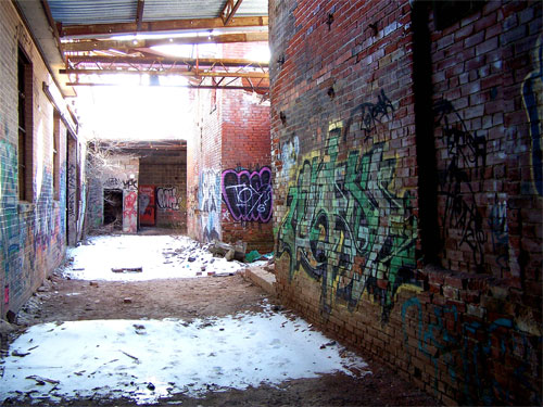 Toronto Don Valley Brickworks. Walls covered in graffiti.