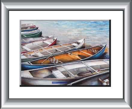 Regatta Canoes, - watercolour painting by Canadian Artist Ann Hamilton.