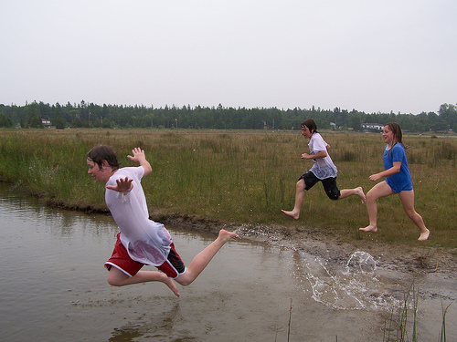 kids jumping into a creek in the Bruce Peninsula, Ontario