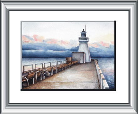 Port Dover Lighthouse - watercolour painting by Canadian Artist Ann Hamilton.