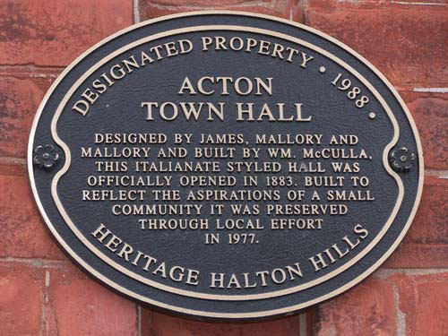 Acton Ontario's old town hall - historic plaque
