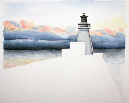 Port Dover, Ontario lighthouse. Early stages of painting by Ann Hamilton.