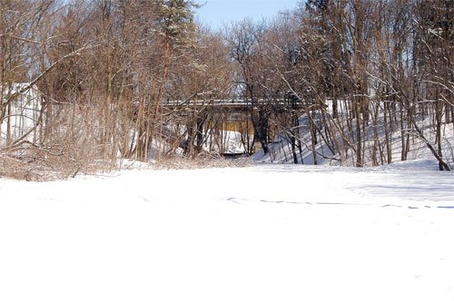 Looking towards the Maria Street Bridge in Acton, Ontario