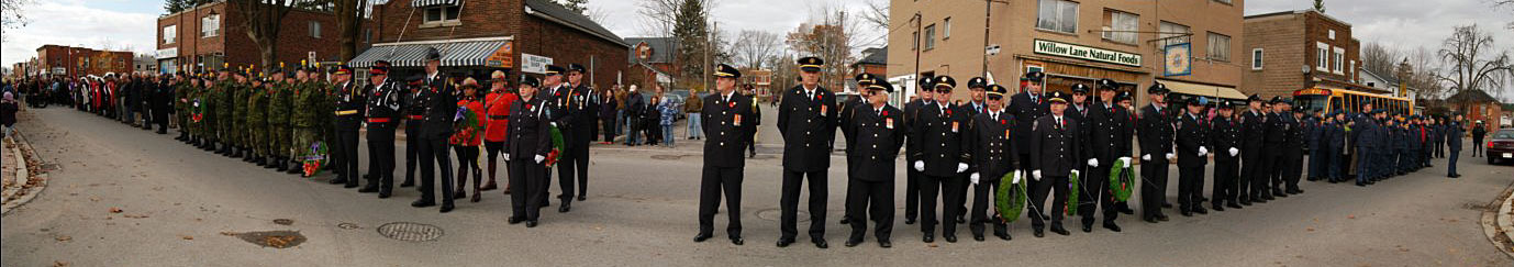 panorama of some of the participants of the Acton Remembrance Day Parade