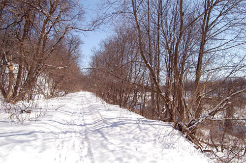 The path is close to the Black Creek valley in Acton, Ontario