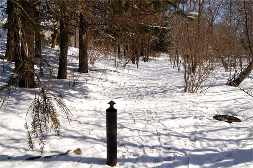 path from Elgin St to Frederick St in front of old Beardmore Tannery property in Acton, Ontario