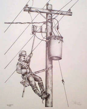 Limited edition print - lineman working on a hydro pole