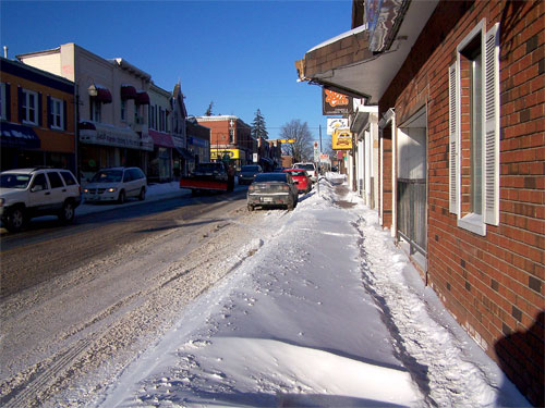 Mill St in Acton, Ontario after a small snow storm.