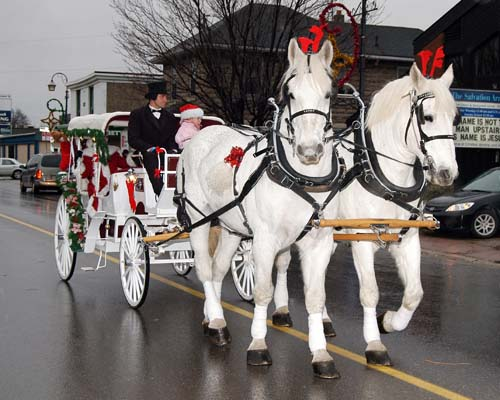 2008 Acton Santa Claus Parade -  Mr and Mrs Claus come into town on a horse drawn carriage